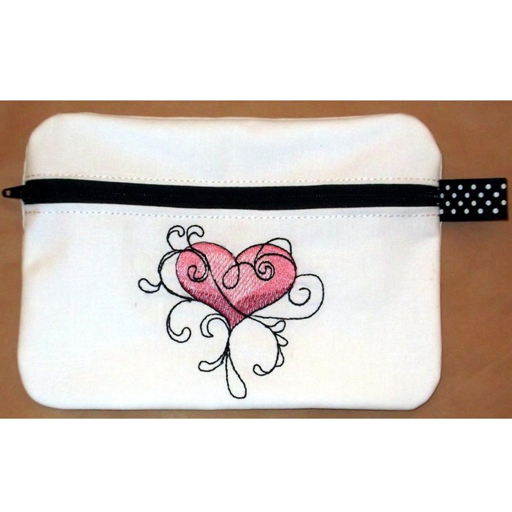 Twirly embroidered heart  zipper purse / pouch by Thats so ME!