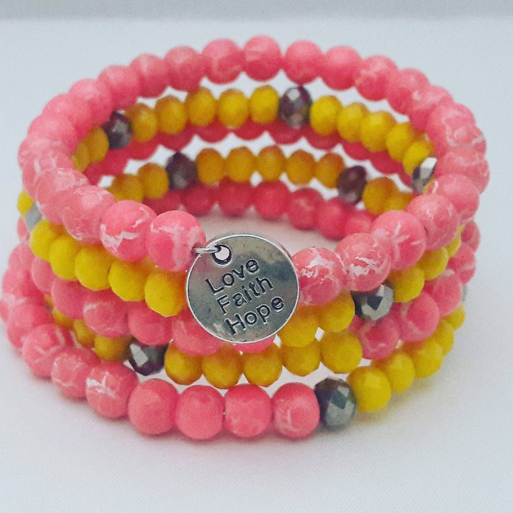 Pink and Yellow Memory Wire Bracelet by StyLash Accessories