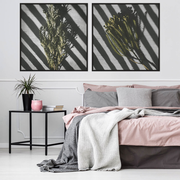Playing With Shadows Photography Print Set | 60x60cm | Collection 3 | Bedroom Decor | Wall Art | Wall Hanging | Leaves | Green | Grey | Pink | Blush | Home Decor | Fynbos | Botanical | Flowers | Floral by Sonny Mo Arts