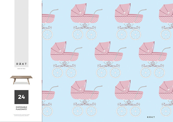 3 for 2 sale | Paper Placemats | Classic Pink Pram | PMB014 by RAkt