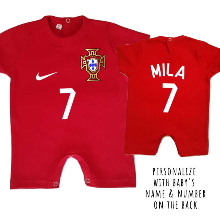 PORTUGAL Football Baby Romper with NAME & NUMBER/ Baby Clothes /Portuguese baby outfit/ Baby Shower Gift /Tuga by Little Lion Cub Studio