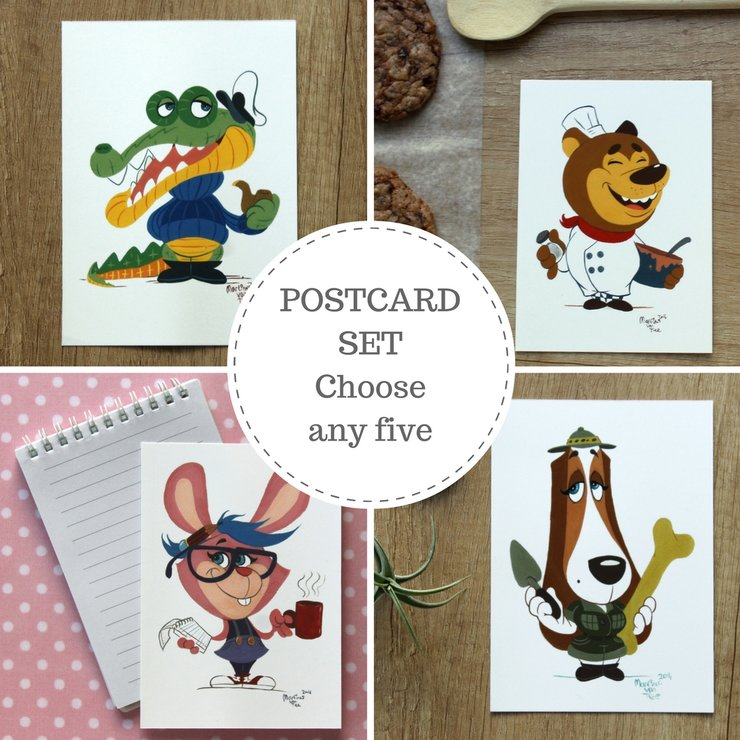 Postcard set, Gouache animal illustrations, Cartoon snail mail, Postcrossing by Terrapin and Toad