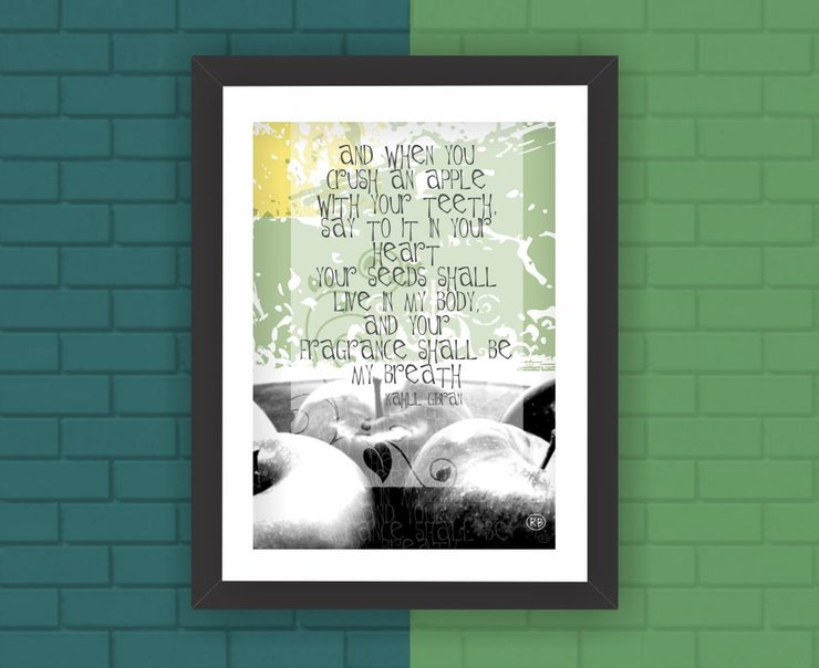 wall art poster print gibran quote inspirational food green yellow kitchen apple seed by Owling South Africa
