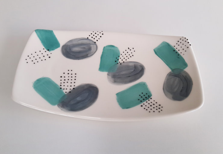 Rectangle Server Aqua Grey by Potsicle Ceramics