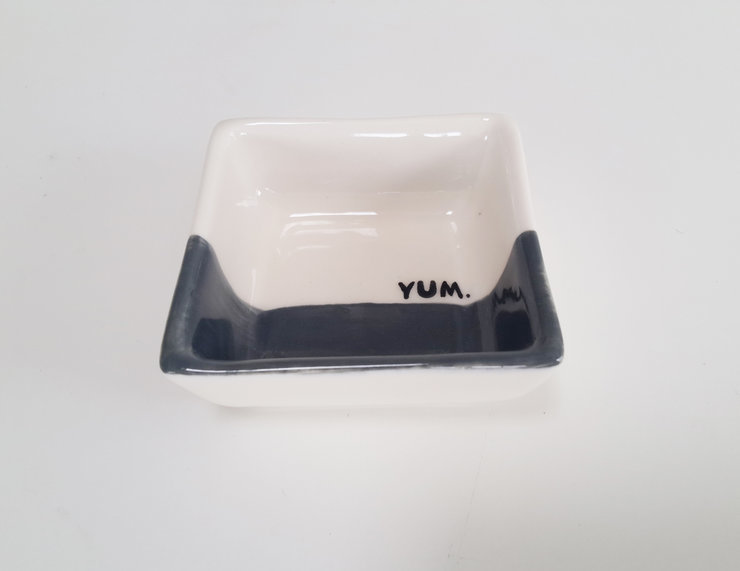 Yum Half grey square dish by Love & Sparkles