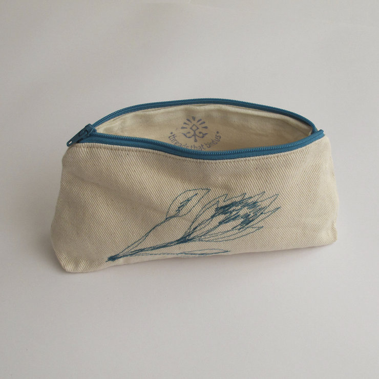 Protea Pouch (Teal) by Threads that bind us