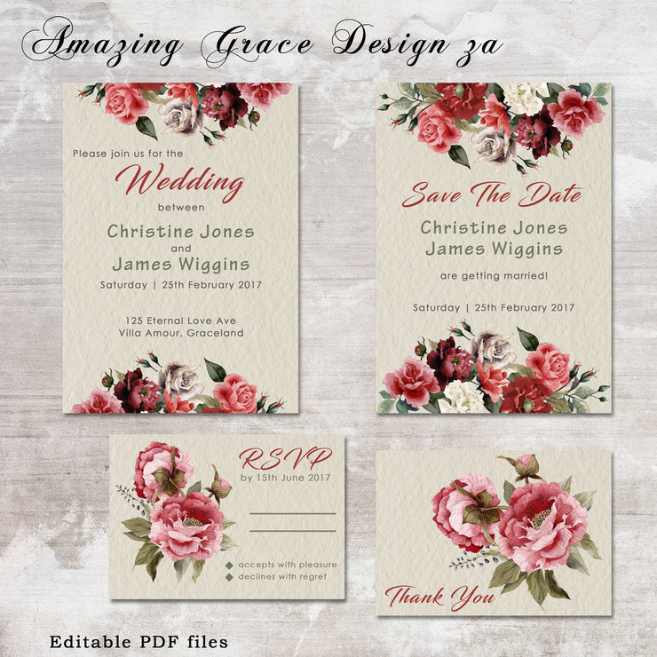 Wedding suite INSTANT DOWNLOAD | Editable Templates | Pink Green ...