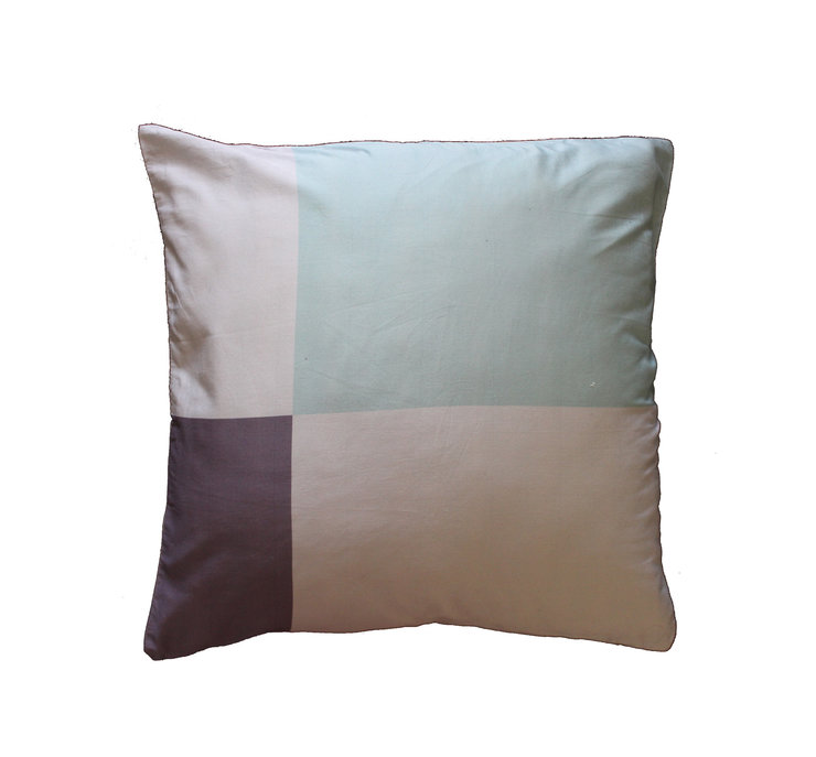 Grey and duck egg block pillow cover by Fingerprint Interiors