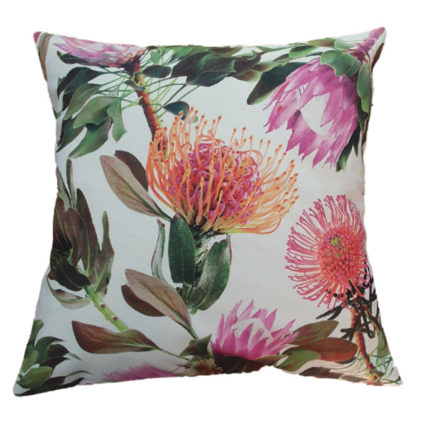 Protea pillow/scatter cushion with 50x50cm inner by Going Dutch In Sa
