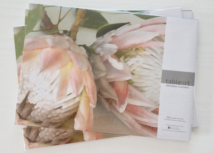 Disposable placemats: KING PROTEAS colour (25 in pack) by TableArt
