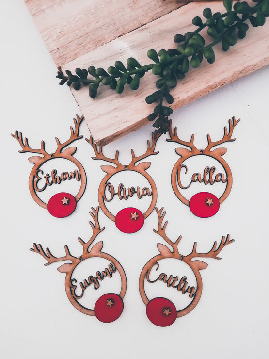 Personalised MDF Reindeer Decorations by Betty Boo