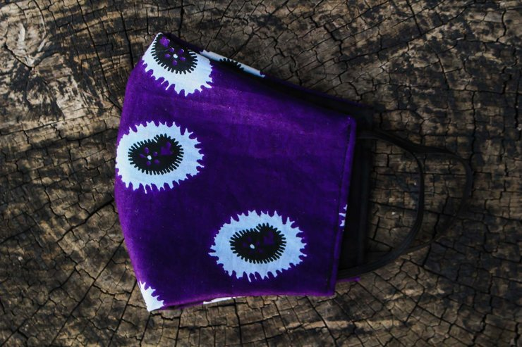 Puple African Print Fabric Mask by Noona Stylez