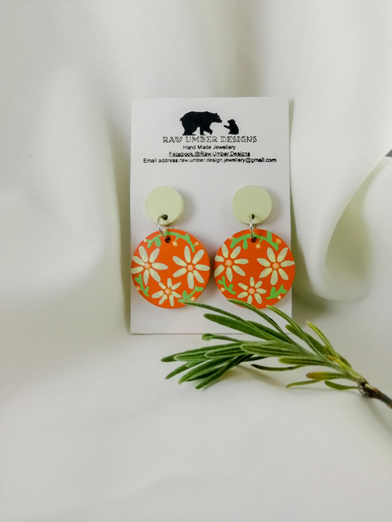 Earrings: Daisy Day by Raw Umber Designs