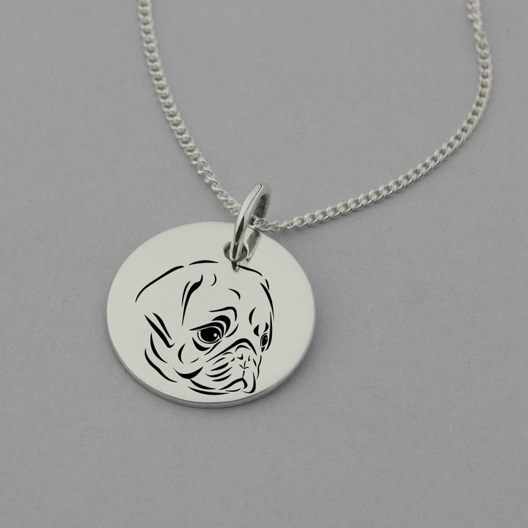 Pug Engraved Necklace, Pug Lover Jewellery, Pug jewellery, Gifts for her, Animal Lover Gifts, Dog Lover Gifts, Pug Gifts by Swish Jewellery Studio