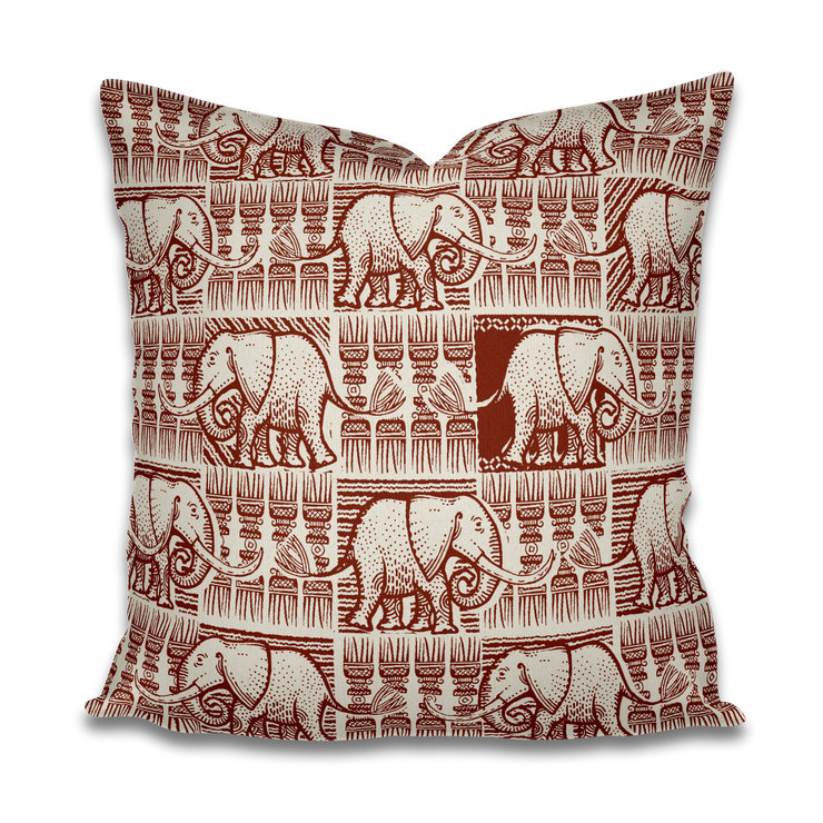 'Elephant ethnic' Cushion Cover rustic red by The Natural Hand