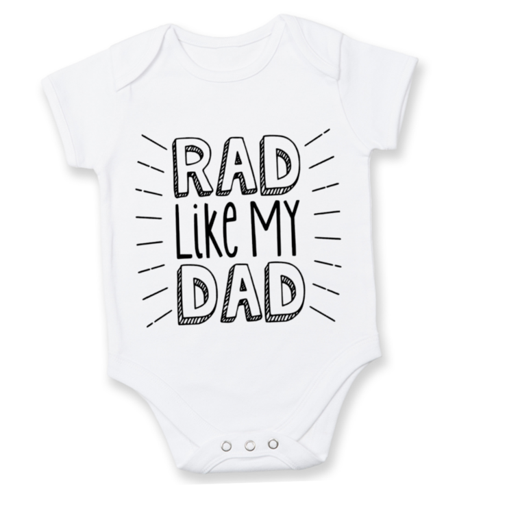 RAD like my DAD Babygrow/ Father's Day Baby Outfit/Father's Day Gift/First Father's Day/ Father's Day Onesie / Vadersdag by Little Lion Cub Studio
