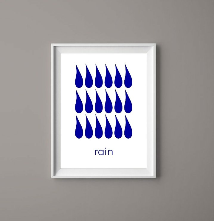Rain Ink Blue - Printable Art Digital Download Graphic Prints by  ImPrintable | Art