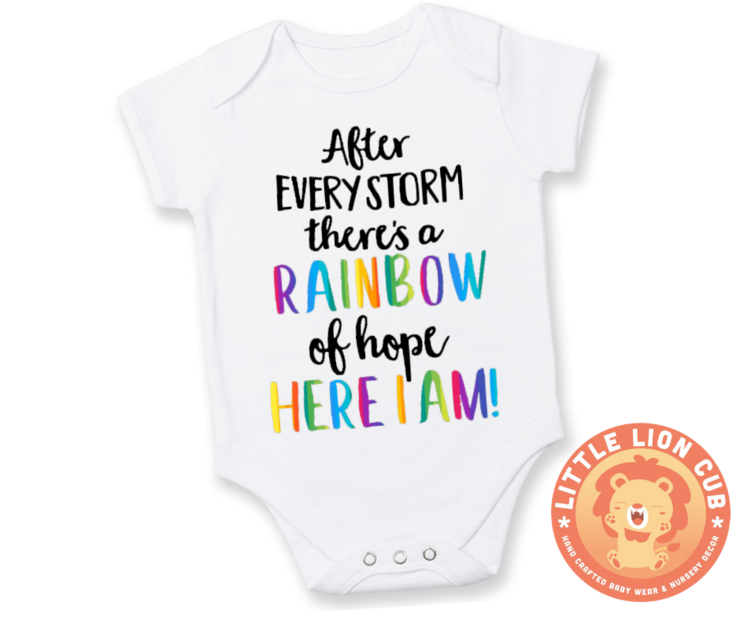 Rainbow baby onesie/After every STORM there's a RAINBOW of hope baby grow/Miracle baby/ Baby gift / Baby Shower/ Baby announcement by Little Lion Cub Studio