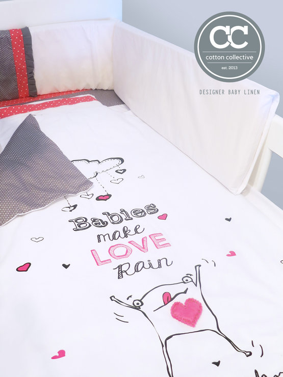 Baby Cot Linen Set Raining Love By Cotton Collective
