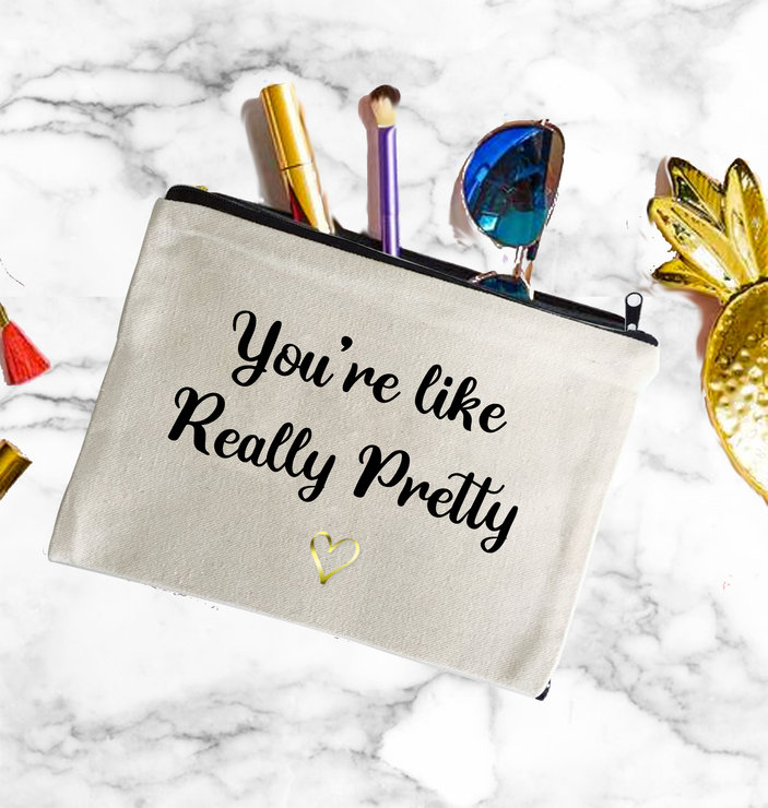 You're really pretty cotton make up bag gift bridesmaid birthday   by Love & Sparkles