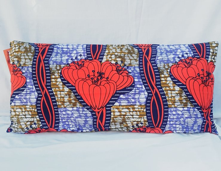 Rectangular Cushion - Red Flower by Feathers