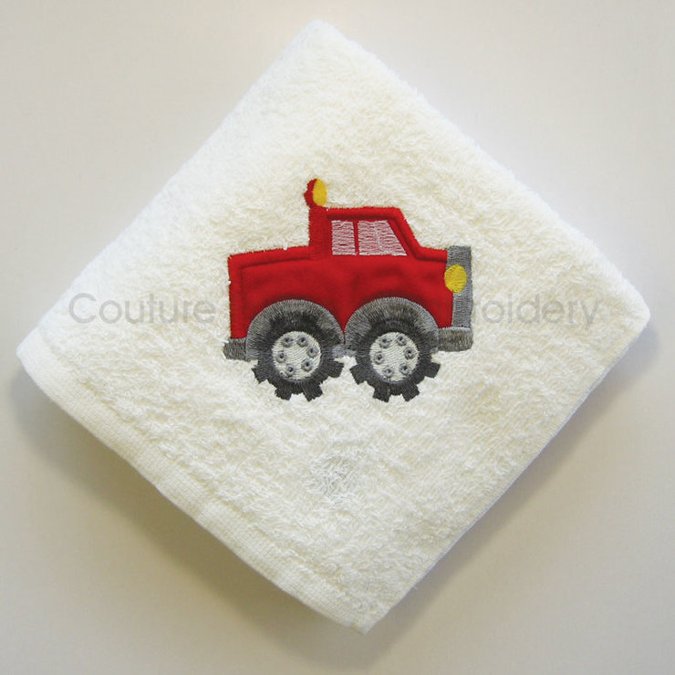 Red Truck Burp Cloth / Rooi Trok Spoegdoek by Couture Princess Embroidered Stuff