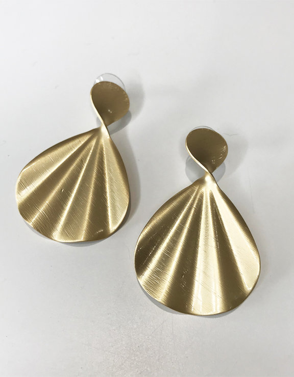 Dahlia Collection Mermaid fan gold earrings by Love & Sparkles