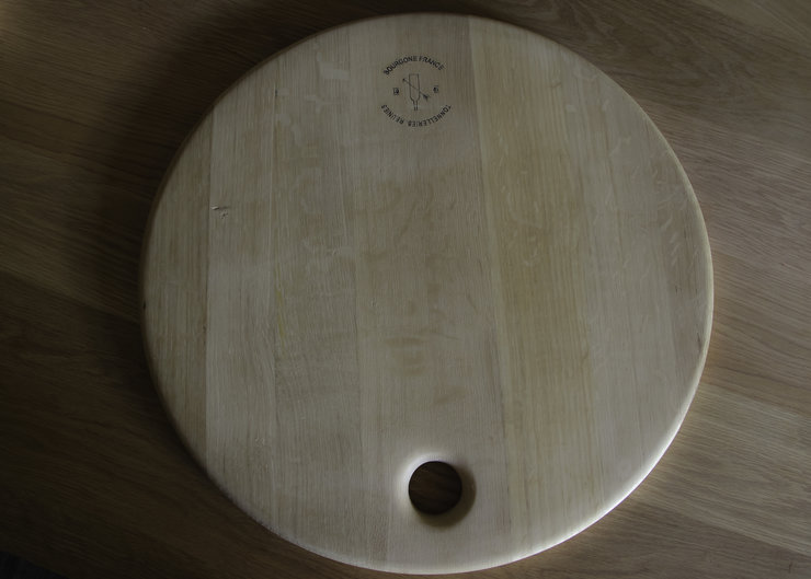 Large reclaimed oak wine barrel cheese board by Stefan fourie design