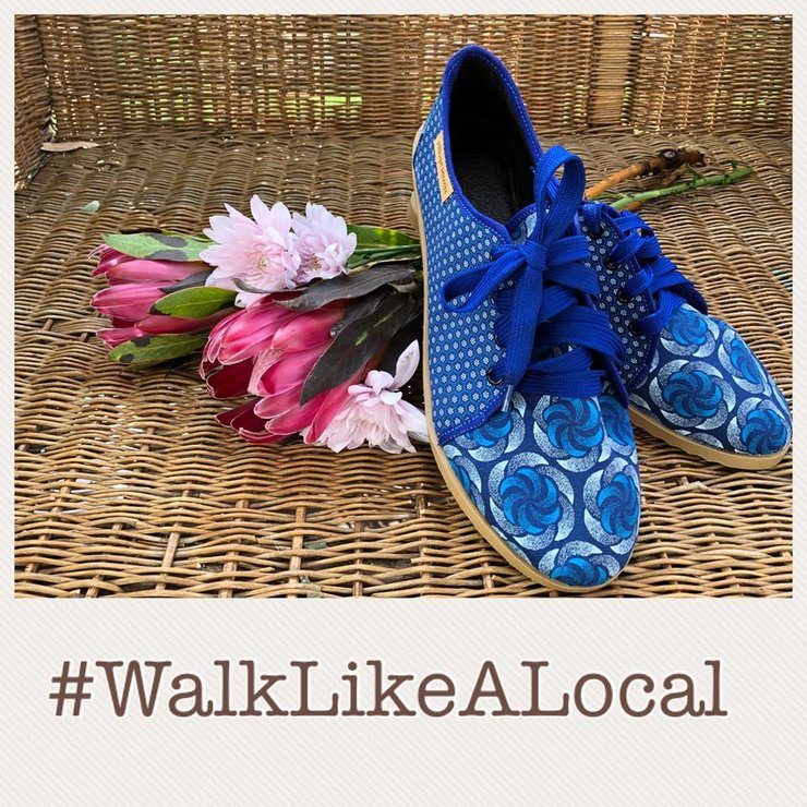 Leather and Shweshwe Tackie - Royal Blue Roses by Village Secrets Shoes