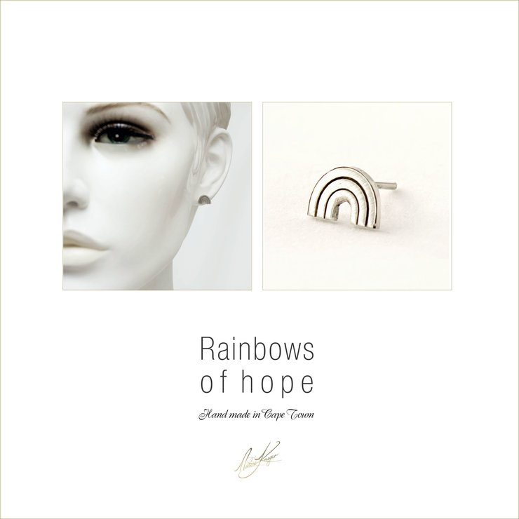 Rainbow stud earrings by Noeline Fine Jewelery Designer