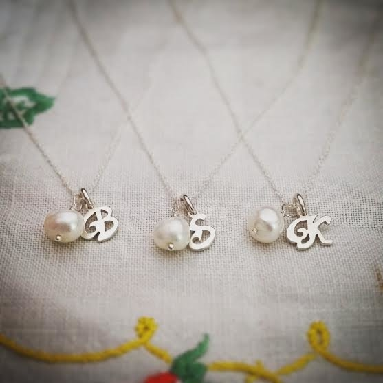 Handmade sterling silver initial with pearl bead necklace by GloveJewellery