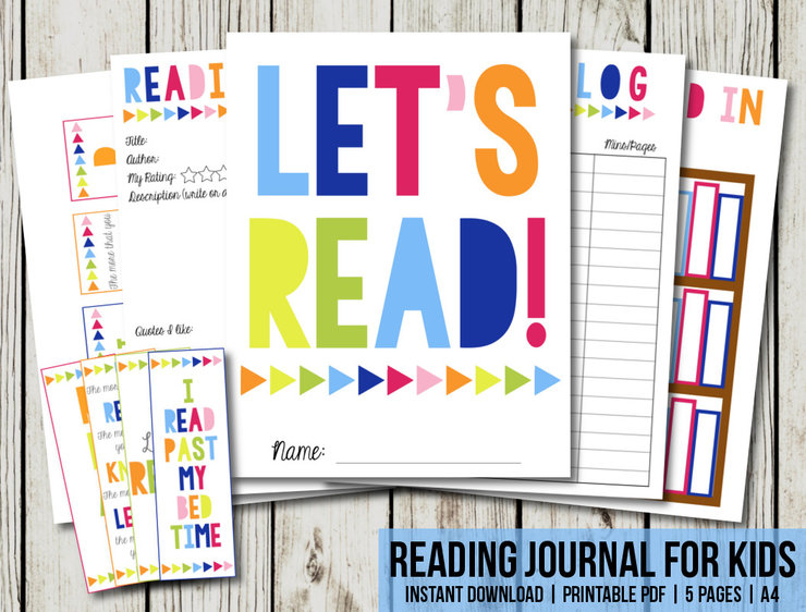 graphic about Reading Journal Printable named Looking at Magazine Young children, Guide Magazine Planner, A4 Dimension, Studying Log, College E book, Printable