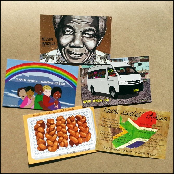 South African themed Postcard Pack - 5 art postcards