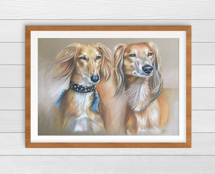 Full colour pastel PetPawtrait ~ (41x30cm) * 2 Subjects * by The Happiest Hound Gift co.
