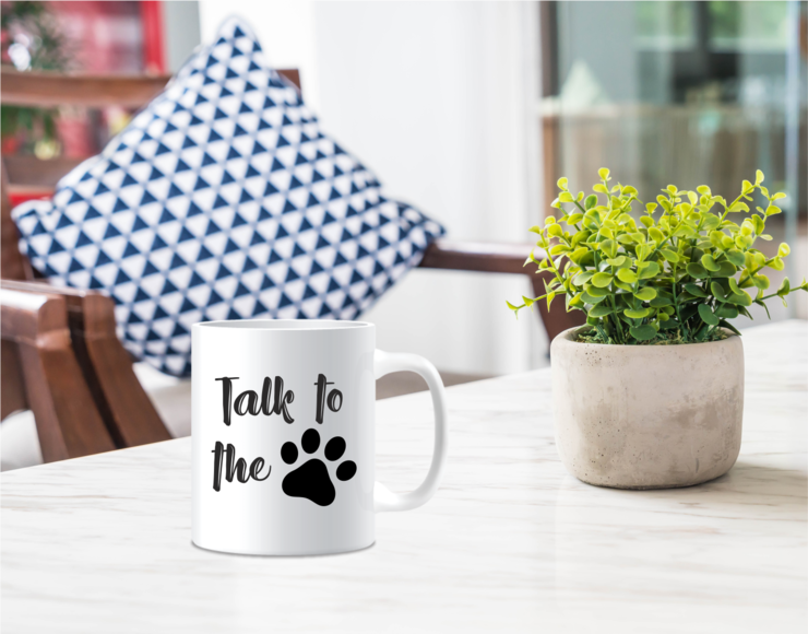 Talk to the Paw Animal Printed Ceramic Mug  by Scarlet and Mel