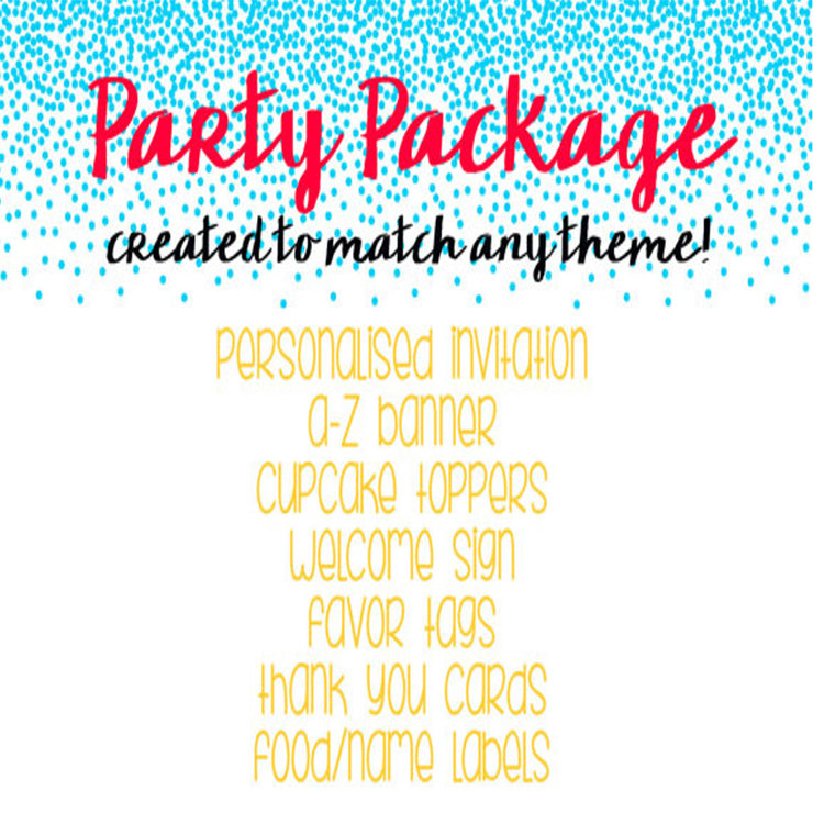 Party Package, Party Kit, Party Supplies, Any theme, Discount, Great Deal! by EyePop Designs