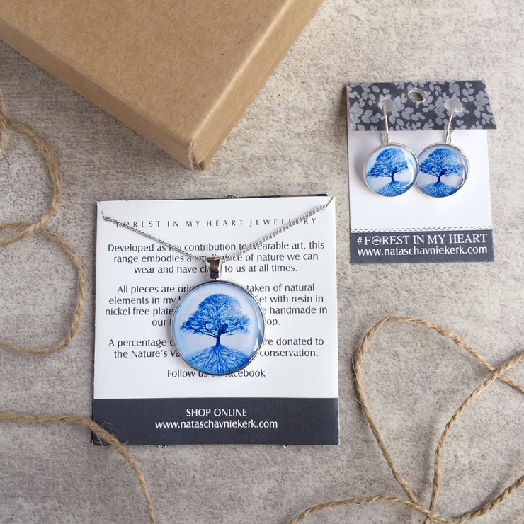 Pendant and Earrings Gift box - The Secret Life of Trees, Blue by Natascha van Niekerk Fine Art Photography