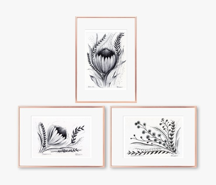Printable Botanical Protea Flowers and Leaves Pen Drawings. Each in Size A5 and A4 (PDF in ZIP). Small Wall Art for Nature Lovers made in Cape Town. adri art by WHISP by Adri
