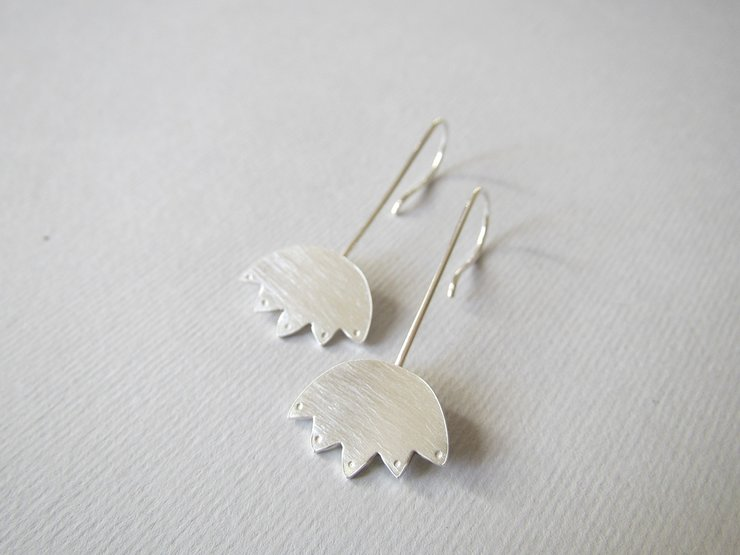 Sterling Silver Full Lotus Flower Hook Earrings by Liwo Design