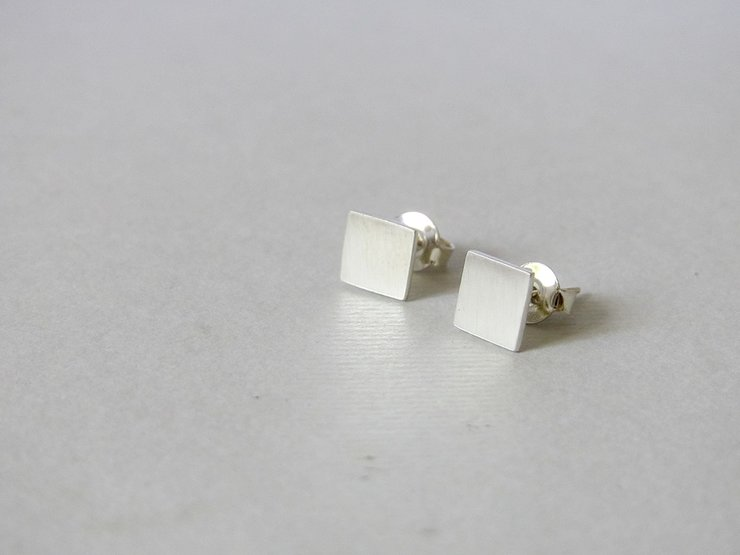 Sterling Silver Square Stud Earrings by Liwo Design