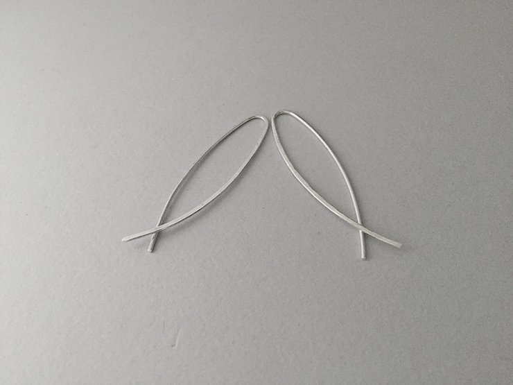 Sterling Silver U-shape #2 Hook Earrings by Liwo Design