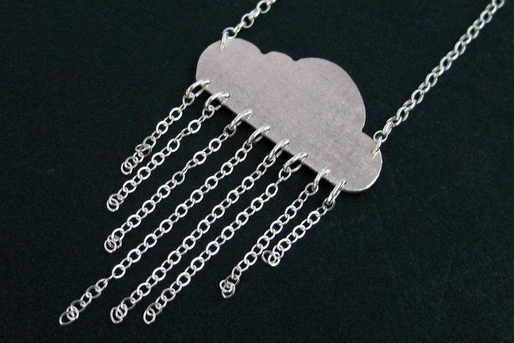 Sterling Silver Rain Cloud Necklace by OffbeatMelody
