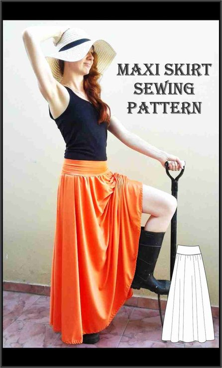 Sewing Pattern Easy Maxi Skirt Hello Pretty Buy Design