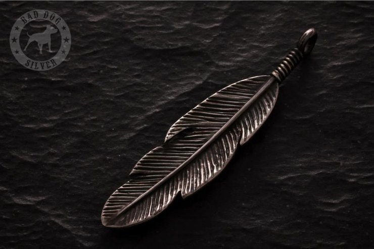 Small Feather Pendant by Bad Dog Silver