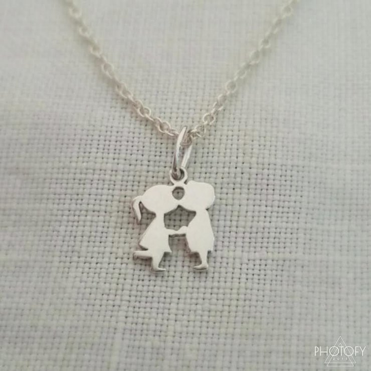Sterling silver kissy friends necklace by GloveJewellery
