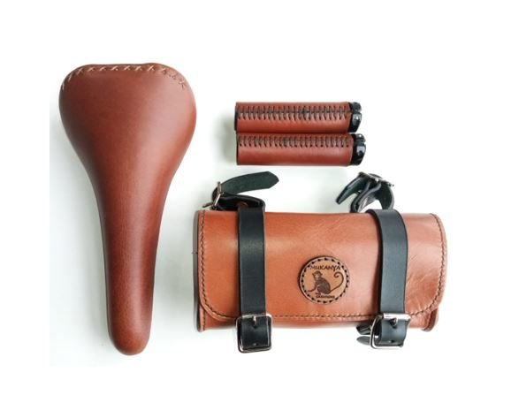 Leather Bicycle Accessory Set by Mukanya Creations