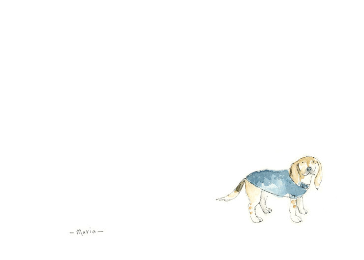 dogs in sweaters greeting cards by Maria Baumann Illustrations