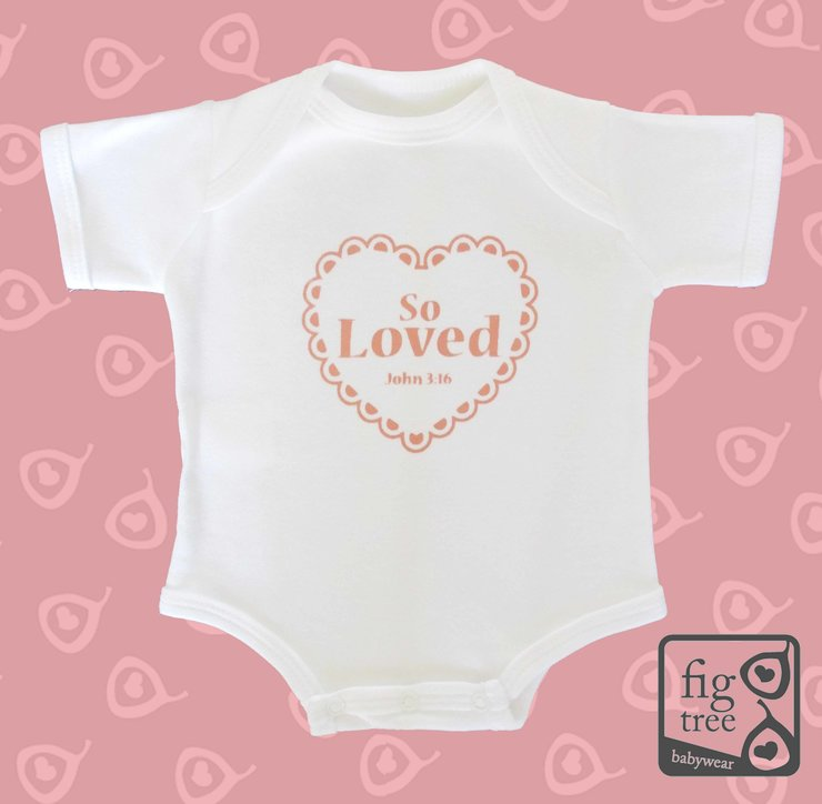 So Loved John 3:16 Vest (0-3 months) by Fig Tree Babywear