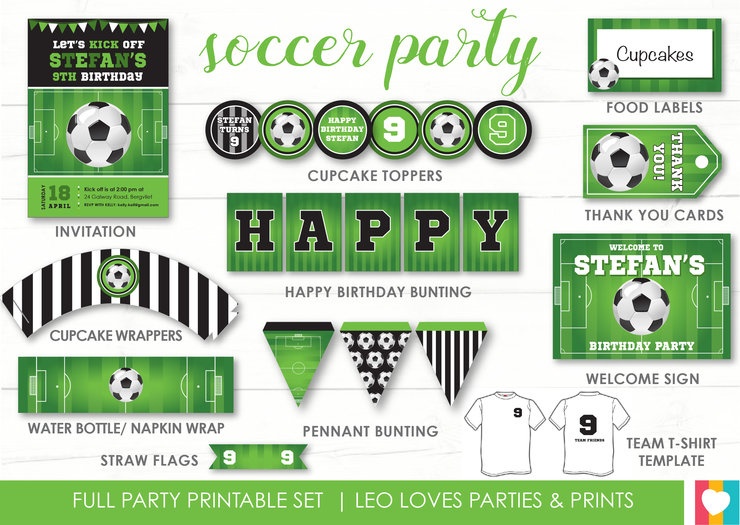 photo relating to Soccer Printable titled Football Social gathering Printable Established