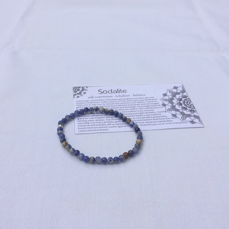 Sodalite Stretch Bracelet with Sterling Silver Bead by Quintessence Natural Healing